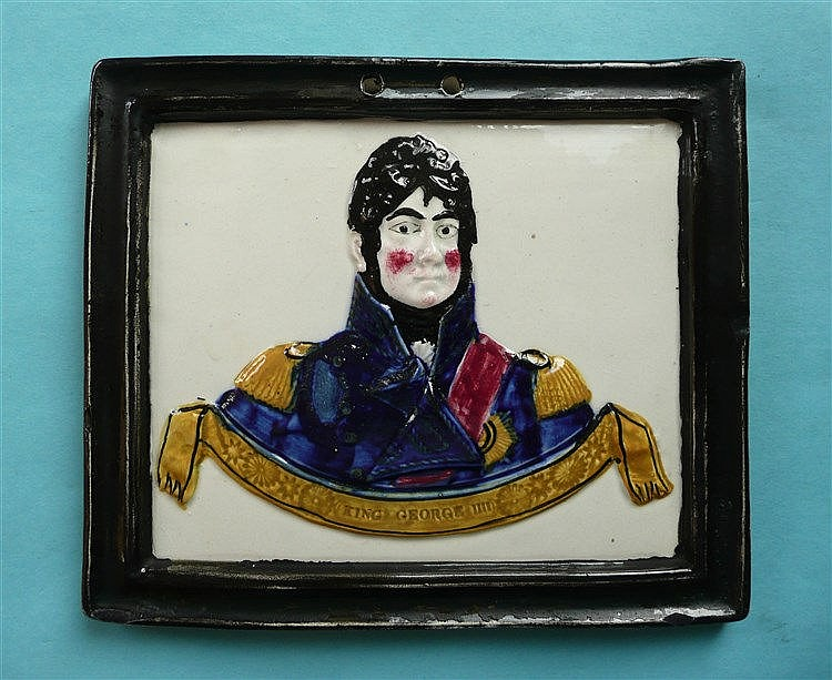 George IV: a rectangular pearlware plaque moulded with a named portrait and