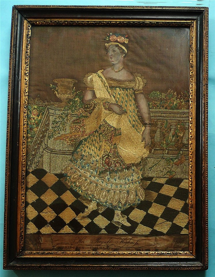 Princess Charlotte: a fine needlework and painted picture depicting the Pri