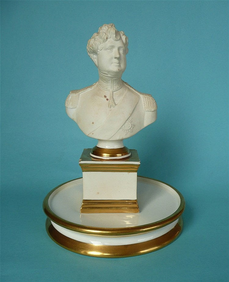 George IV: a white bisque porcelain portrait bust by Samuel Alcock & Co on