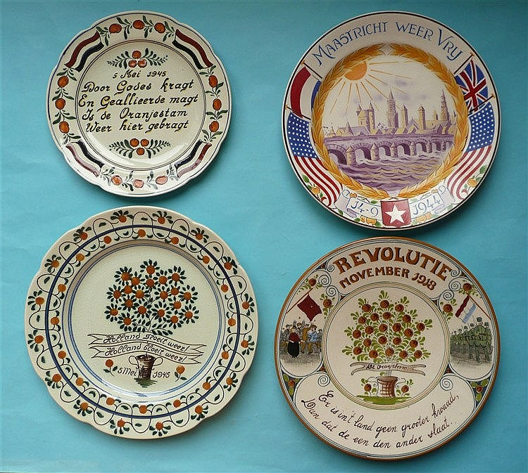World Wars: A Delft plate for November 1918 and three for the Second War (4