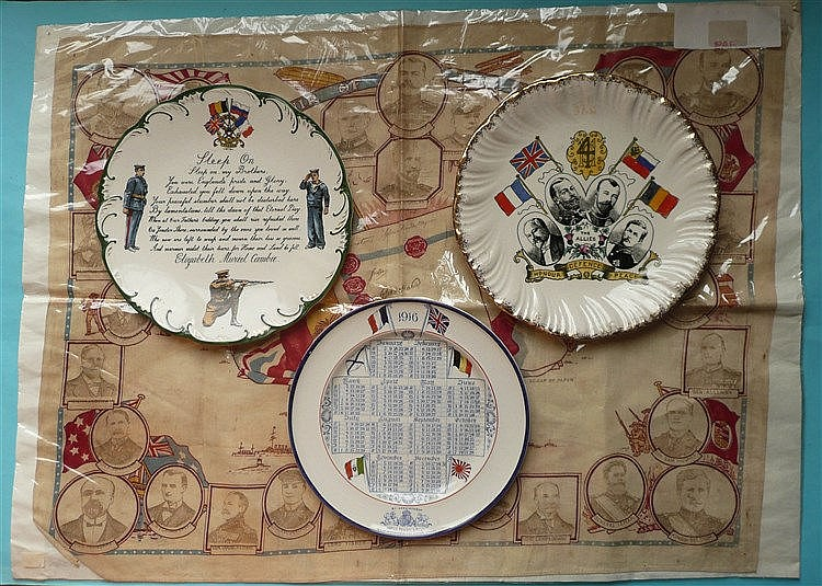 World War I: three pottery plates and a printed cotton scarf (4)    commemo