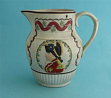 Duke of York and the French Crown: a Prattware jug moulded with a profile i