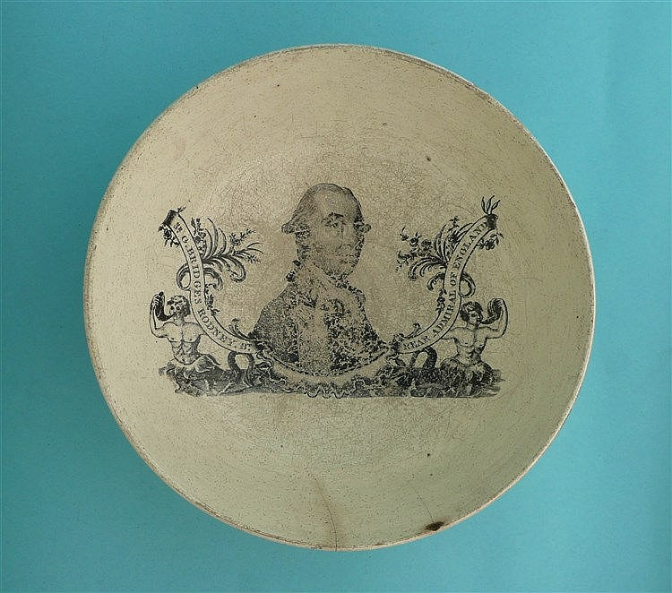 Admiral Sir G. Bridges Rodney: a creamware bowl printed in black with a nam