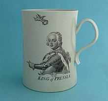 1757 King of Prussia: a large cylindrical Worcester mug printed in grey wit