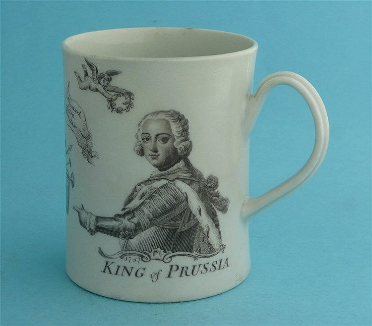 1757 King of Prussia: a small cylindrical Worcester mug printed in grey wit