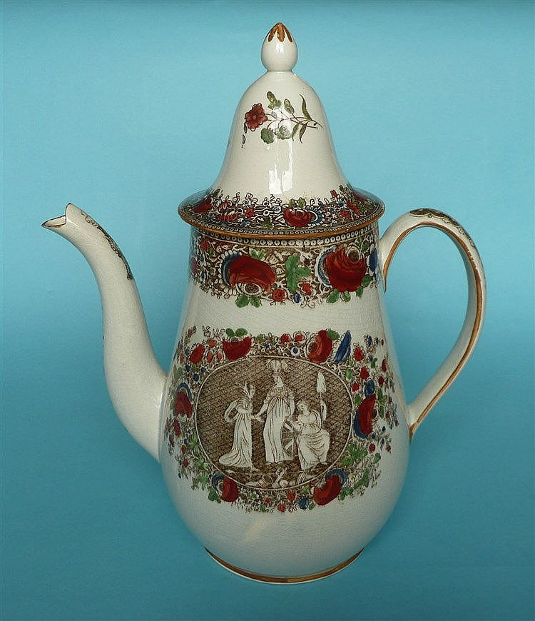 1802 Peace of Amiens: an attractive pearlware coffee pot and cover printed