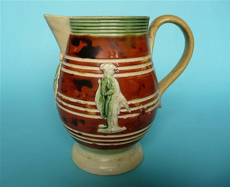 Lord Rodney and Lord Hill: a rare pottery jug, the bellied body moulded wit