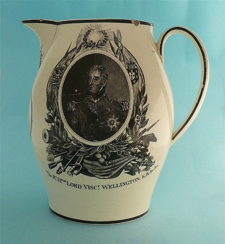 1811 Wellington and George III: a rare creamware jug printed in black with