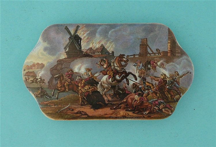 War after Wouvermann (212)    pot lid, pot lids, potlid, potlids, prattware