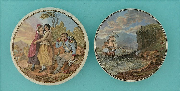 The Thirsty Soldier (205) and The Chin-Chew River (218) (2) pot lid, pot