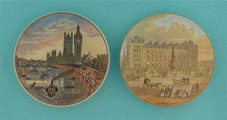 Thames Embankment (197) and Charing Cross (193) (2) pot lid, pot lids, p