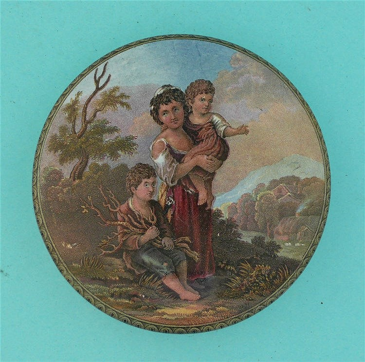Cottage Children (313) pot lid, pot lids, potlid, potlids, prattware
