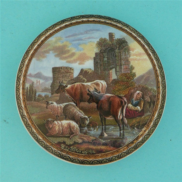 Cattle and Ruins (315) large, fancy border    pot lid, pot lids, potlid, po