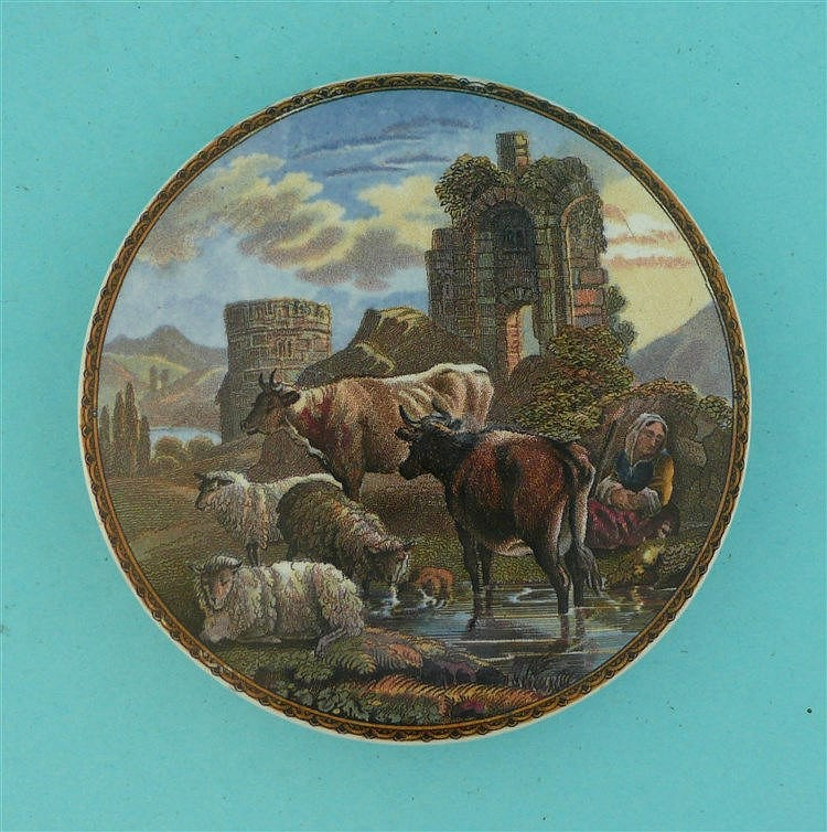 Cattle and Ruins (315) pot lid, pot lids, potlid, potlids, prattware