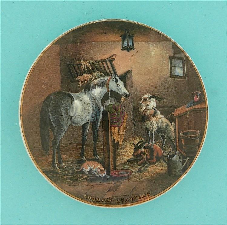 Country Quarters (273)    pot lid, pot lids, potlid, potlids, prattware