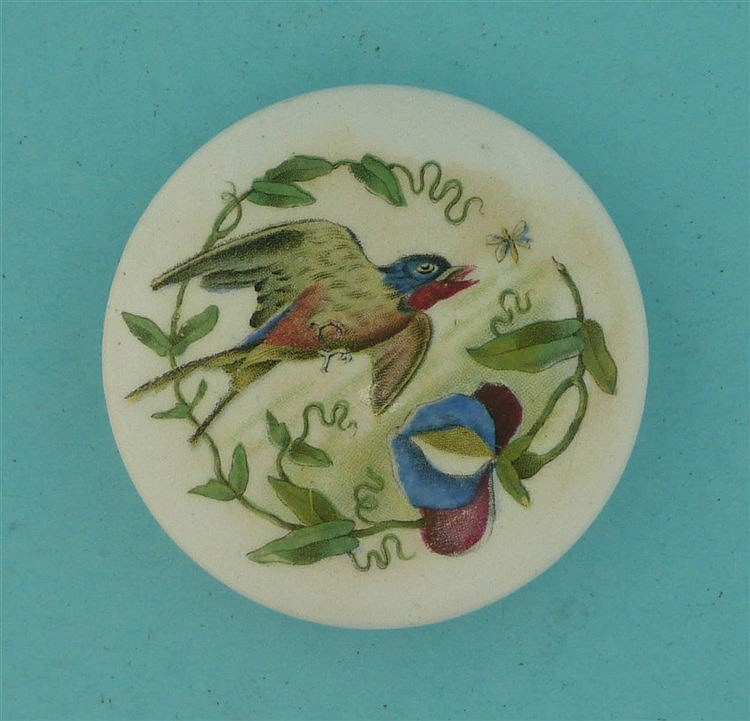 The Swallow (297) small    pot lid, pot lids, potlid, potlids, prattware