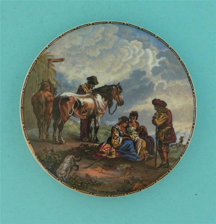 The Skewbald Horse (277)    pot lid, pot lids, potlid, potlids, prattware