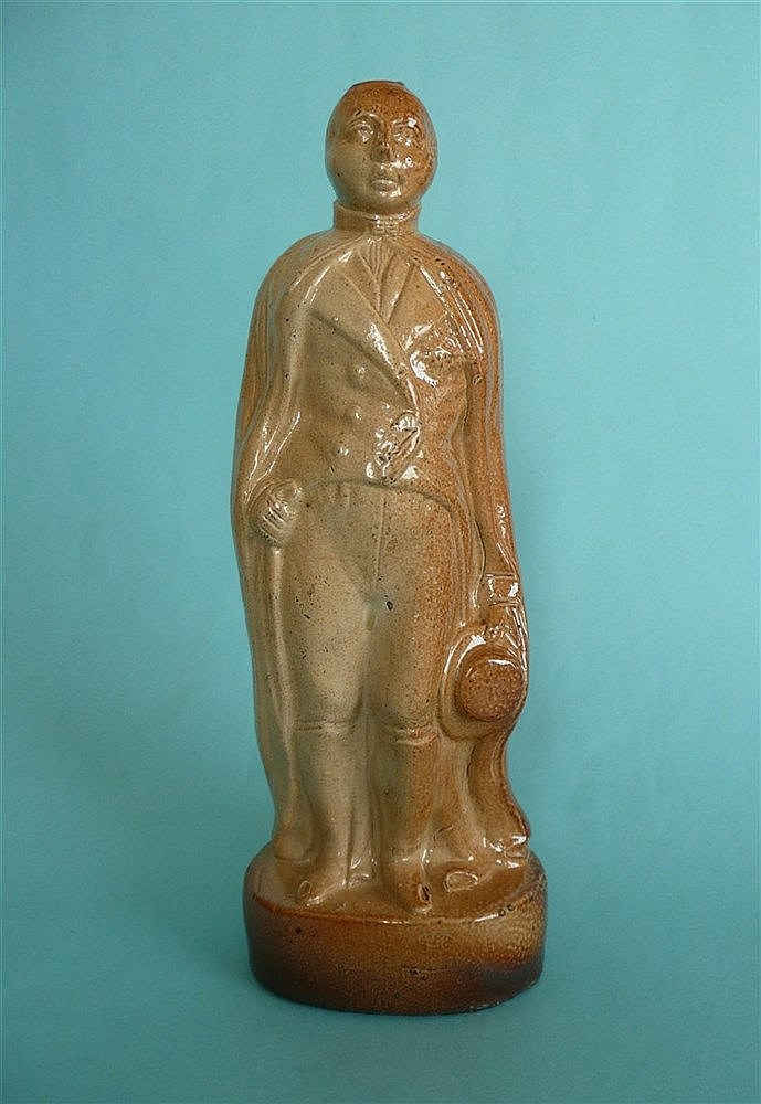 Frederick Duke of York: a rare brown stoneware spirit flask, depicted in a
