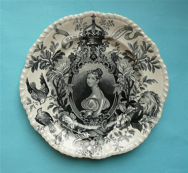 1837 Victoria: a plate printed in black with a portrait after Henry Collen