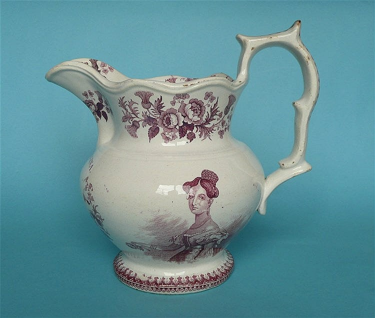 1837 Victoria: a good jug by Read & Clementson attractively printed in pink