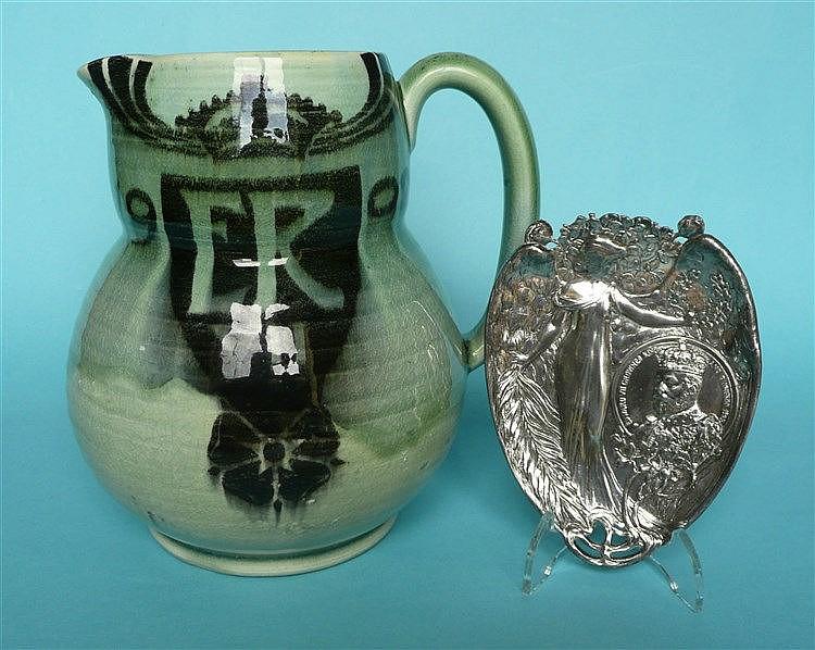 1902 Coronation: a stylish green glazed jug by Minton, 169mm and a WMF styl