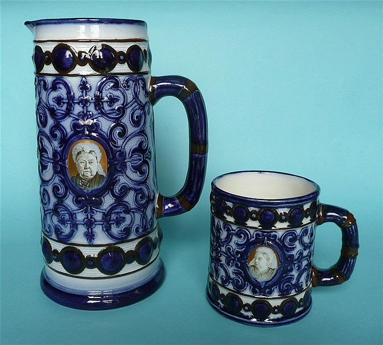 Victoria's Jubilee: a matching moulded jug and mug by Doulton Burslem print