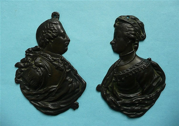 George III and Charlotte: a pair of late-18th century cast bronze profiles,