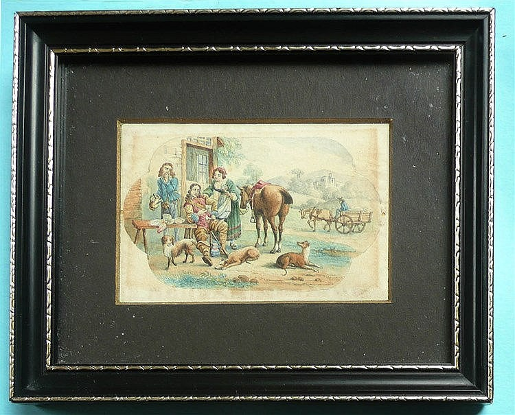 The Cavalier and Serving Woman (381) framed, the reverse affixed with a lab