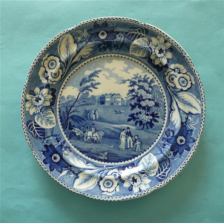 Claremont: a pearlware plate printed all over in blue with a view of the ma