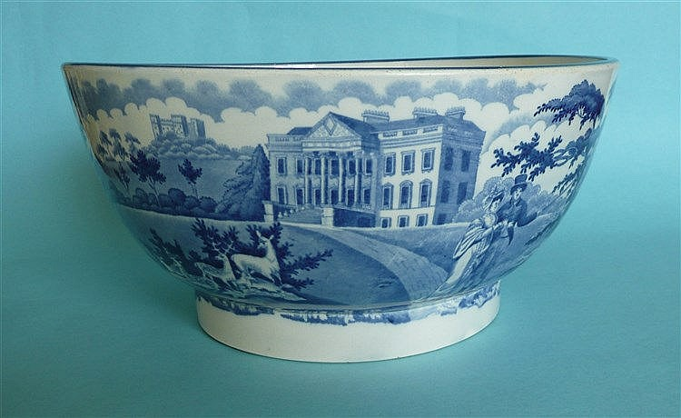 Claremont: a large pearlware bowl the exterior printed in blue with a view