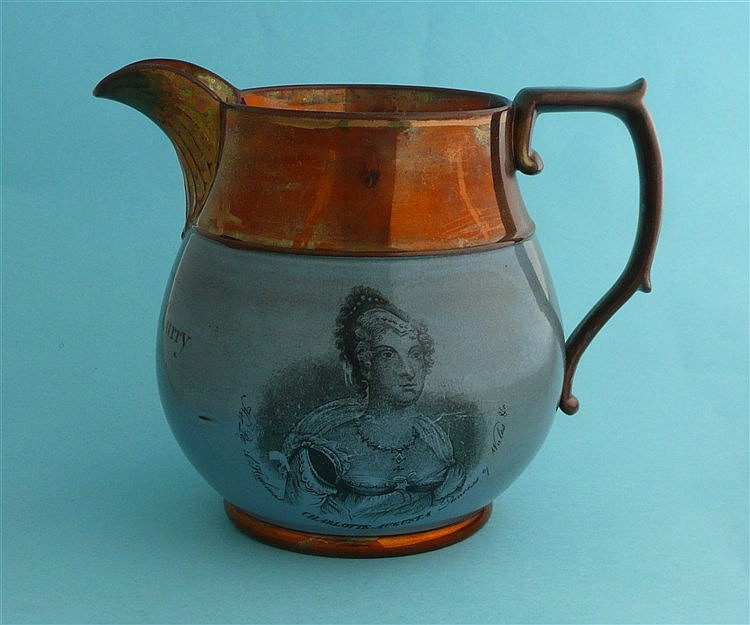 Princess Charlotte: a copper lustre banded blue ground jug printed in black