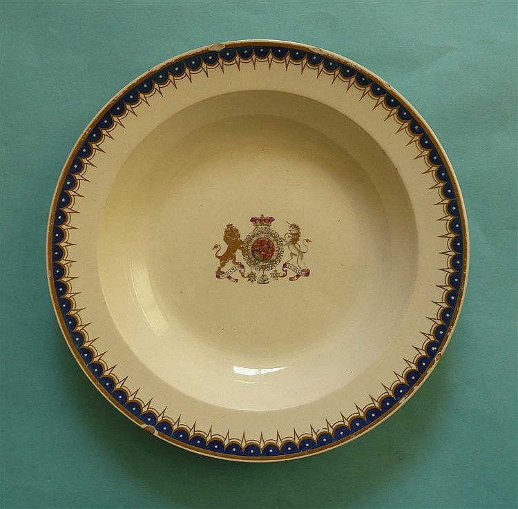 A Wedgwood bowl decorated in colours and gilt with the royal coat of arms o