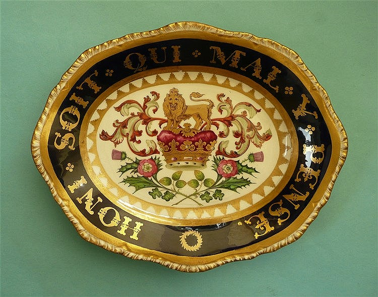 Duke of Clarence: a fine quality oval serving dish decorated in colours and