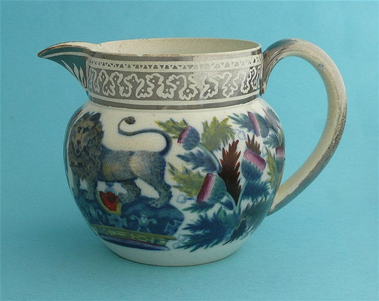 Prince of Wales: a silver resist pearlware jug printed in blue and enamelle