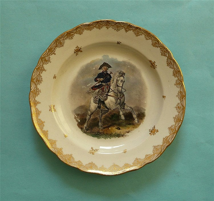 George III: a late-19th century Samson copy of a Ludwigsburg plate painted