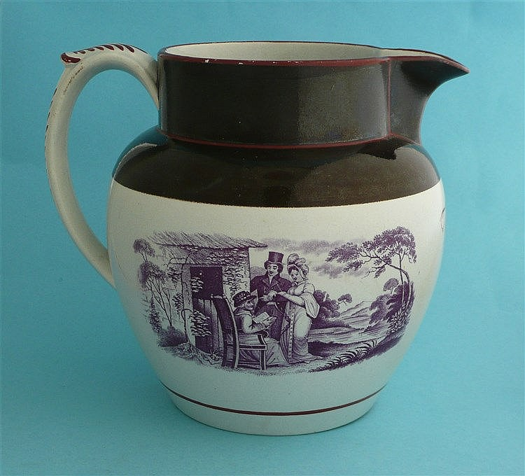 Goody Bewley: a pearlware jug banded in brown and printed in purple with fi