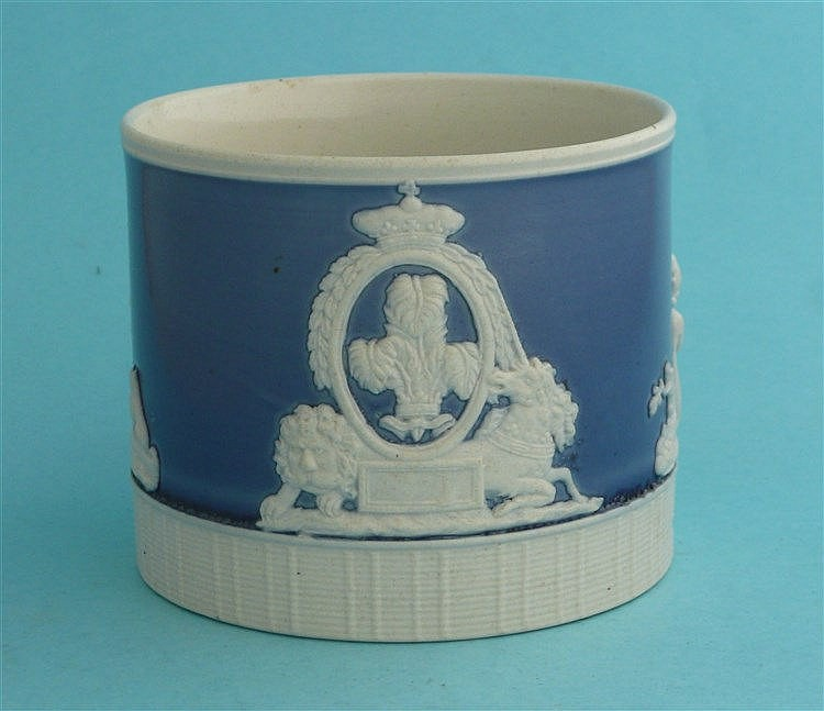 1817 Charlotte in memoriam: a moulded white stoneware mug with pale blue gr