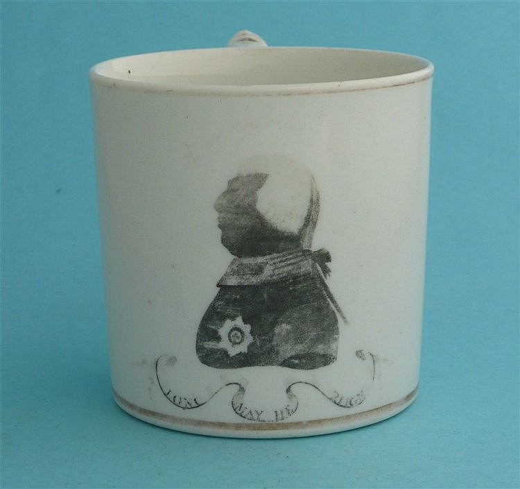 George III: an English porcelain cylindrical mug printed in grey with a hal