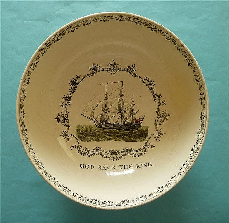 George III and Charlotte: a large creamware bowl, the exterior printed with