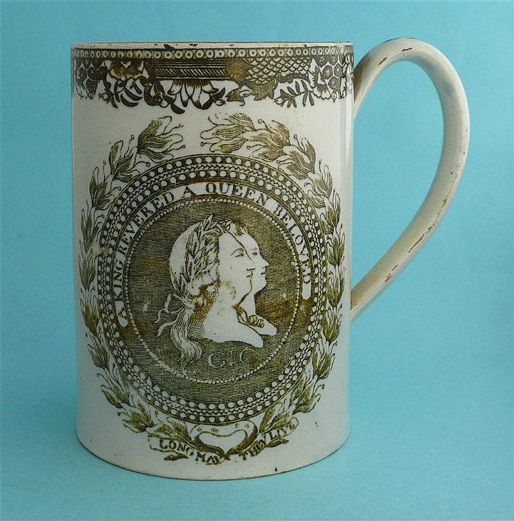 George III: a pearlware cylindrical tankard of large size printed in brown