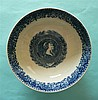 George III: a pearlware bowl printed in blue the exterior with Chinese land