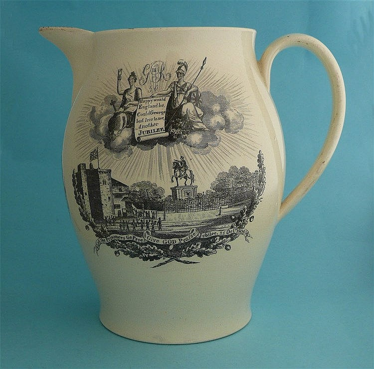 1809 Golden Jubilee: a creamware Liverpool Amnesty jug printed in black wit