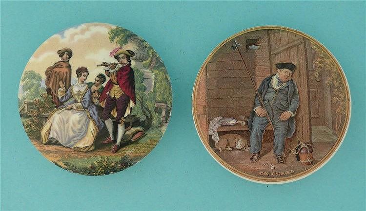 The Flute Player (337) and On Guard (340) (2) pot lid, pot lids, potlid,