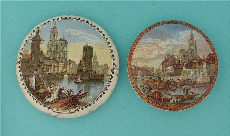 Vue de la Ville de Strasbourg (333) and Strasburg (331) (2) pot lid, pot