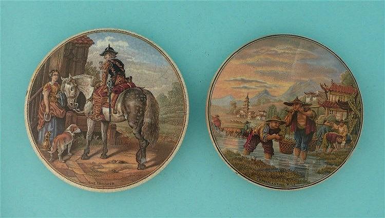 The Trooper (334) and Transplanting Rice (332) (2)    pot lid, pot lids, po