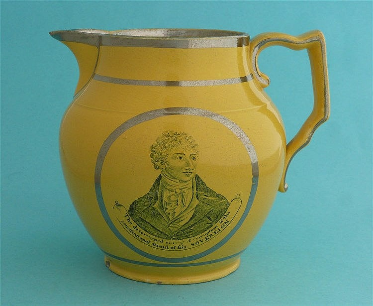 1810 Sir Francis Burdett: a yellow ground jug lined in silver and printed i