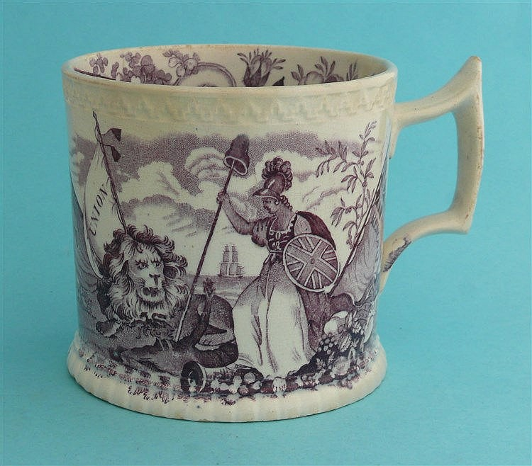 1832 Reform: a cylindrical pottery mug, the interior modelled with a colour