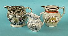 Corn Laws: a pearlware jug inscribed for agricultural success and reduced t