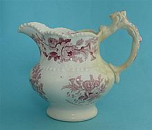 1832 Reform: a lobed pottery jug printed in pink, 136mm, restored    commem