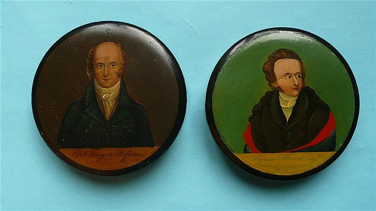A circular papier-mâché snuff box the cover with a named colour portrait of
